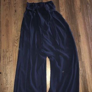 Pants - Navy paper bag pants